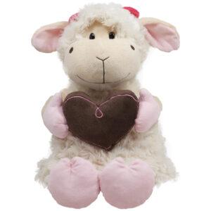 Бяла плюшена овчица с кафяво сърце